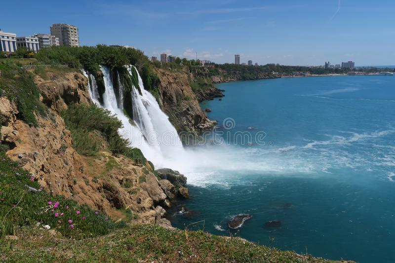Big Duden Watterfall as seen from he nearby Park in Antalya - Turkey stock photo