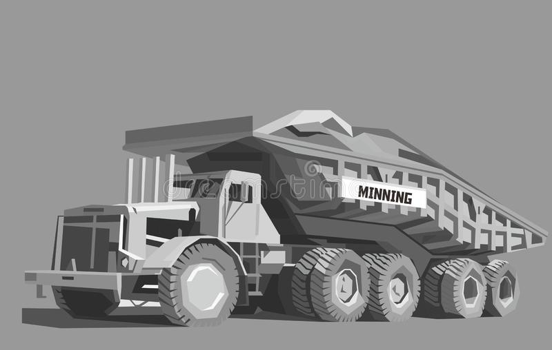 Dump truck in gray color vector illustration