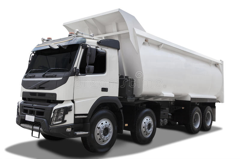 Big dump truck with shadow. Image of a big dump truck with white color, isolated on white background stock images