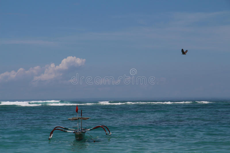 Big eagle In the sky over the sea and boat stock photo