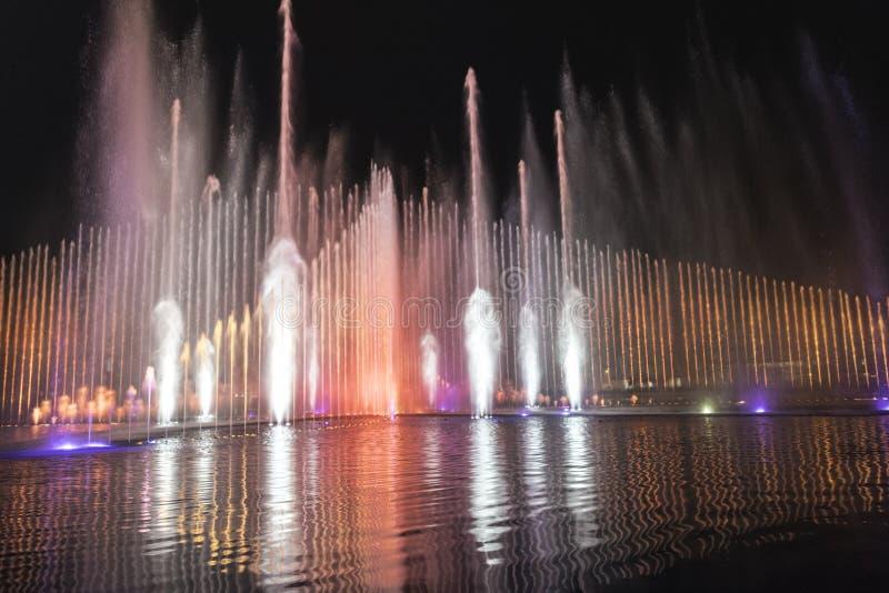 Big Electric fountain musical, okada, manila, night, illuminated royalty free stock photography