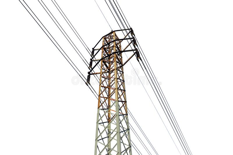 Big electric pole and white background. Dicut pictute big electric pole and white background stock photos