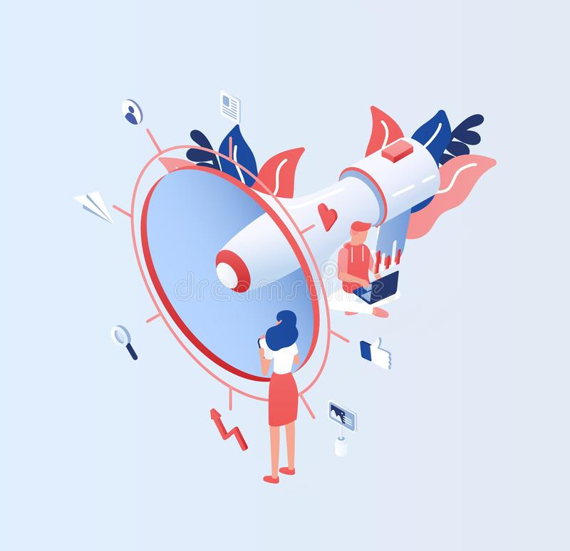 Big electronic megaphone or bullhorn, tiny people, managers or clerks and place for text. Internet advertising and. Social media marketing or SMM. Colored vector illustration