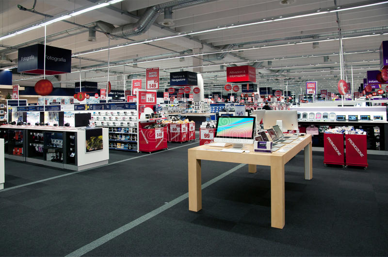 Big electronic retail store stock image