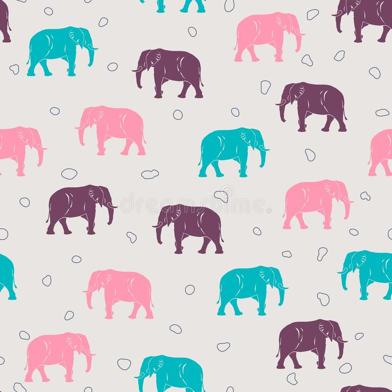 Big elephant seamless pattern for kids or babies textile. And shirt design, wrapping and background vector illustration