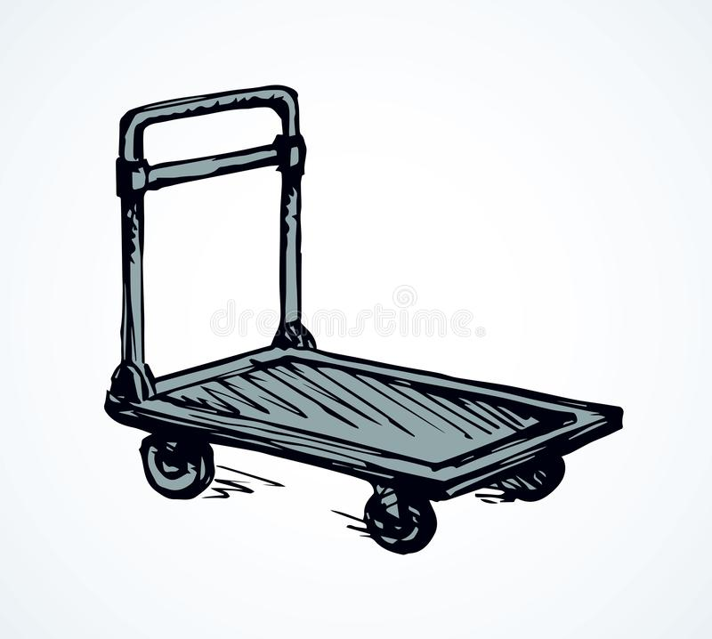 Warehouse trolley. Vector drawing. Big empty forklift handcart dolly basket on white platform backdrop. Black outline ink hand drawn goods box wagon logo sign royalty free illustration