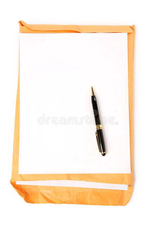Big envelope and notepaper. With white background stock image