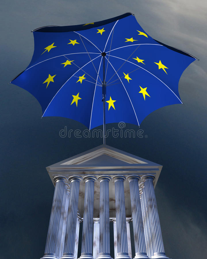 Download Big Europe-flag Umbrella Standing Over Stocks Exch Stock Photo - Image: 10154720