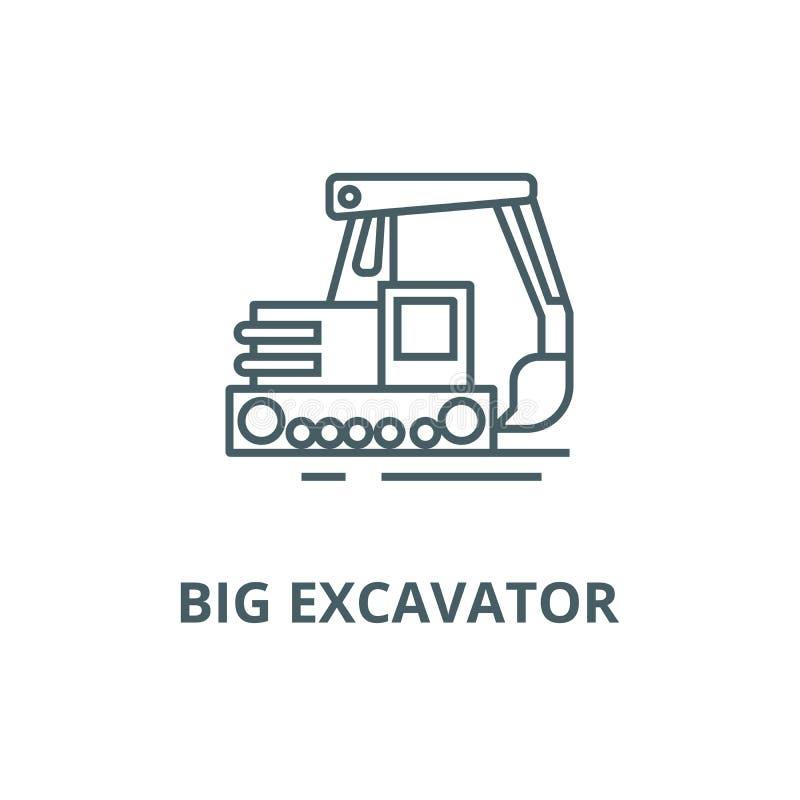 Big excavator line icon, vector. Big excavator outline sign, concept symbol, flat illustration royalty free illustration