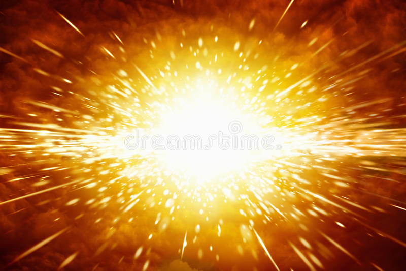 Big explosion. Abstract scientific background - big red explosion in space