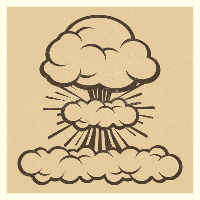 Big explosion sketch drawing vintage element. Isolated on background. Vector illustration stock illustration