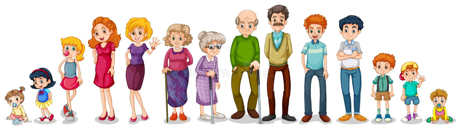 A big extended family vector illustration