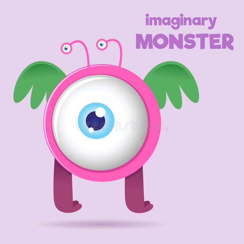 Big Eye Children Imaginary Monster. Children imaginary big eye monster with wings, vector illustration vector illustration