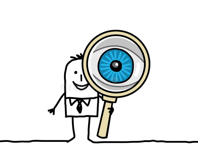 Big eye and magnifying glass stock illustration