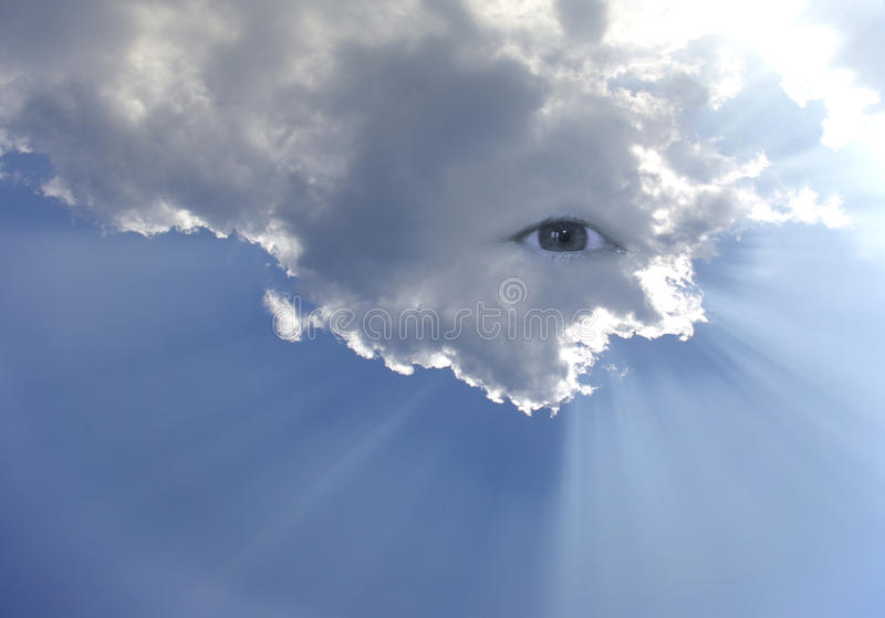 Big eye in the sky with lot of rays stock photos