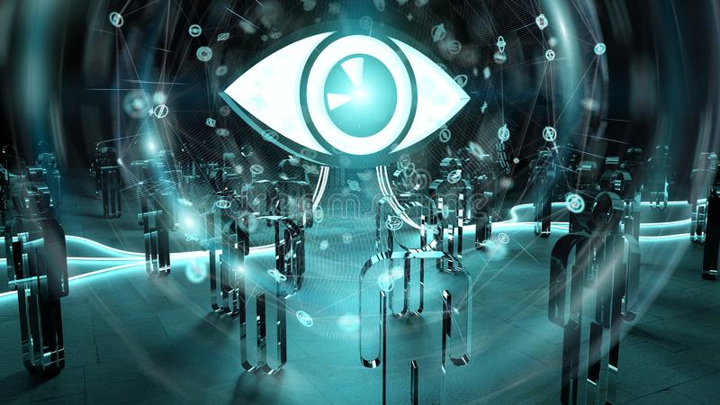 Big eye watching a group of people 3D rendering vector illustration