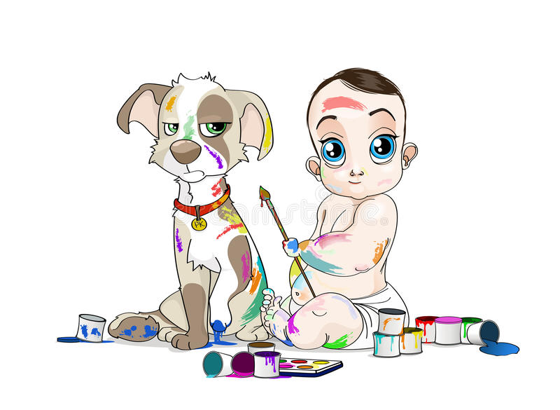 Big eyed baby and his snuffy puppy soiled by paints. Hand drawn illustration of Baby and his snuffy puppy soiled by paints. Opened colour cans everywhere stock illustration