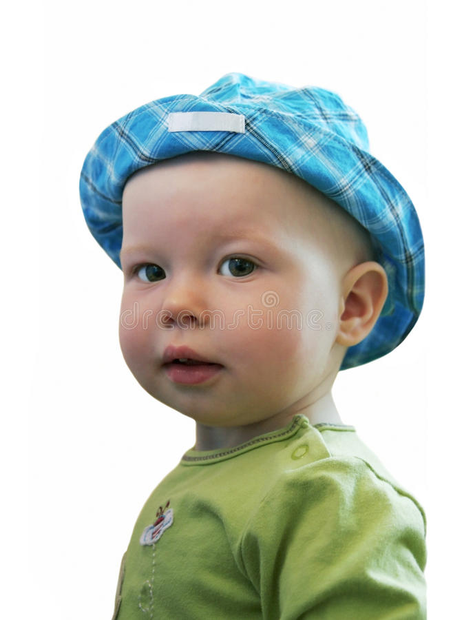 The big-eyed child looks at us royalty free stock photo