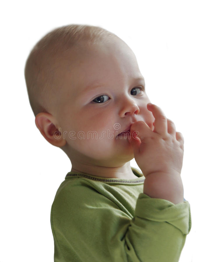 The big-eyed child looks at us royalty free stock photography
