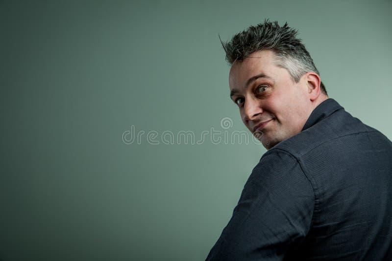 Big eyes of a man looking insane royalty free stock photo