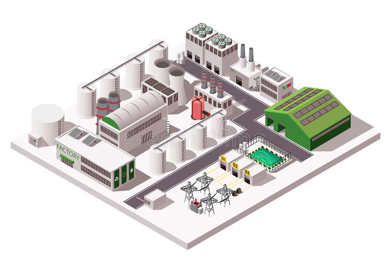 Factory Isometric Composition. Big factory industrial isometric composition on white background 3d vector illustration royalty free illustration