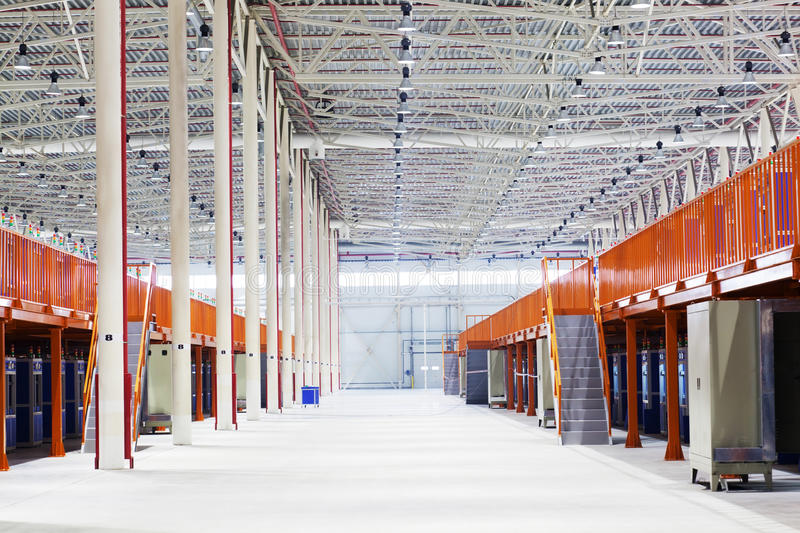 Big factory shop. With the modern working equipment stock photo