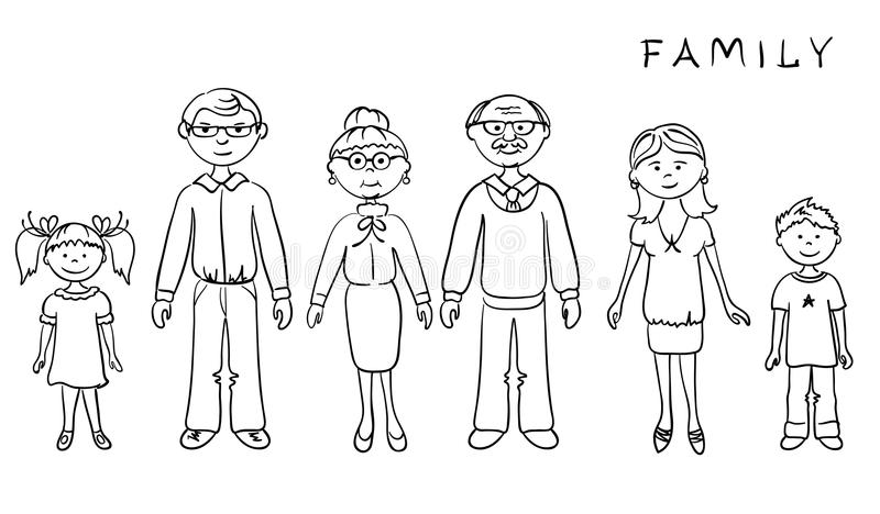 Big Family. Grafic illustration -- Big Family (parents and children royalty free illustration