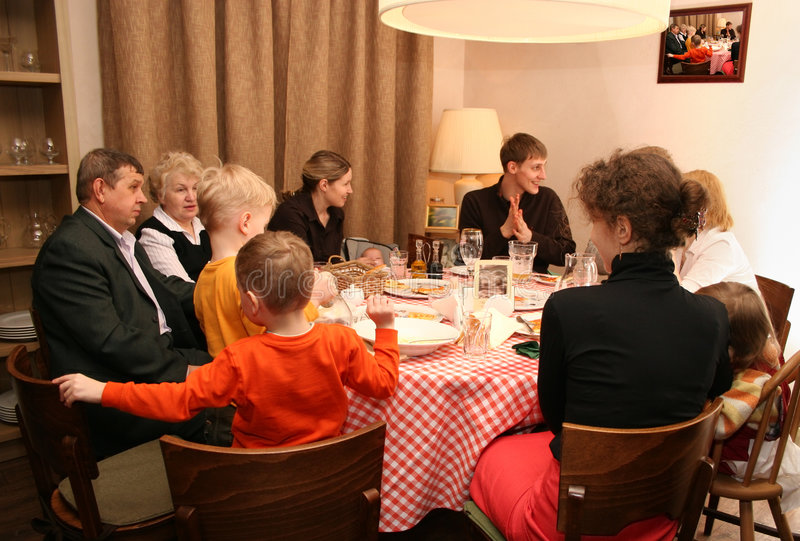 Big family. Have a dinner at the round table