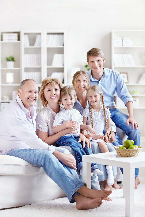 Big family. A large family with children and grandchildren at home