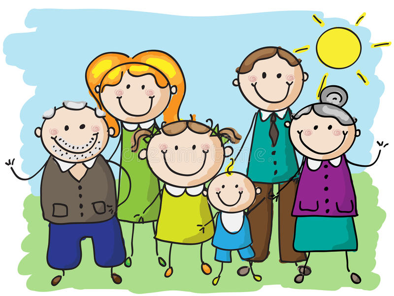 Big family. Happy family, mother ,father,grandparents and kids holding hands royalty free illustration