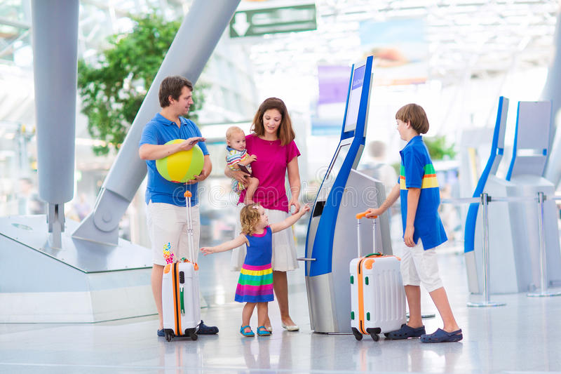 Big family at the airport stock images