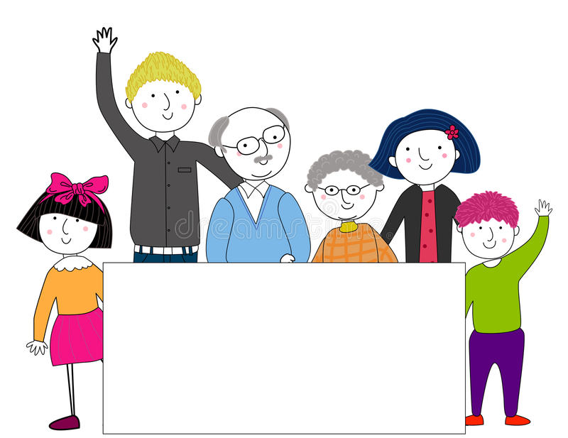 Big family with banner. Illustration of big family with banner vector illustration