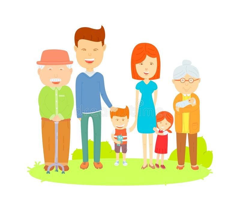 Big family. Cartooning vector, Flat vector Colorful illustration, Cute style, Family photo on the lawn vector illustration
