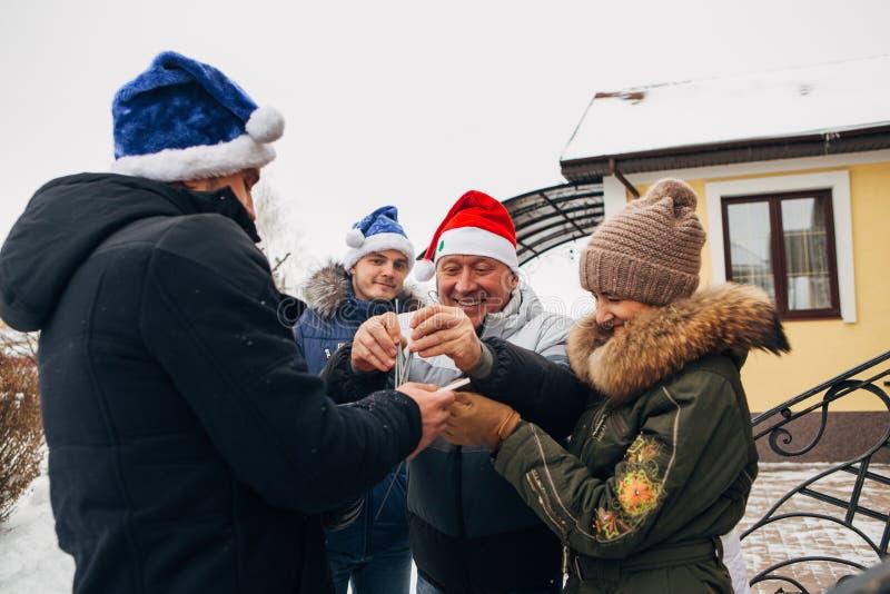 Big family celebrating New Year and Christmas stock photos