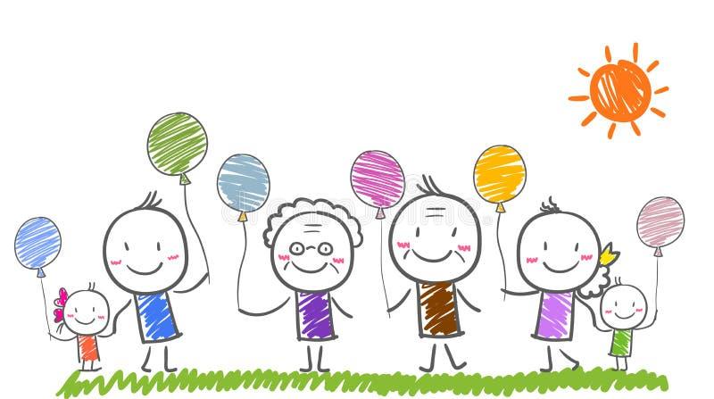 Big family with children stock illustration