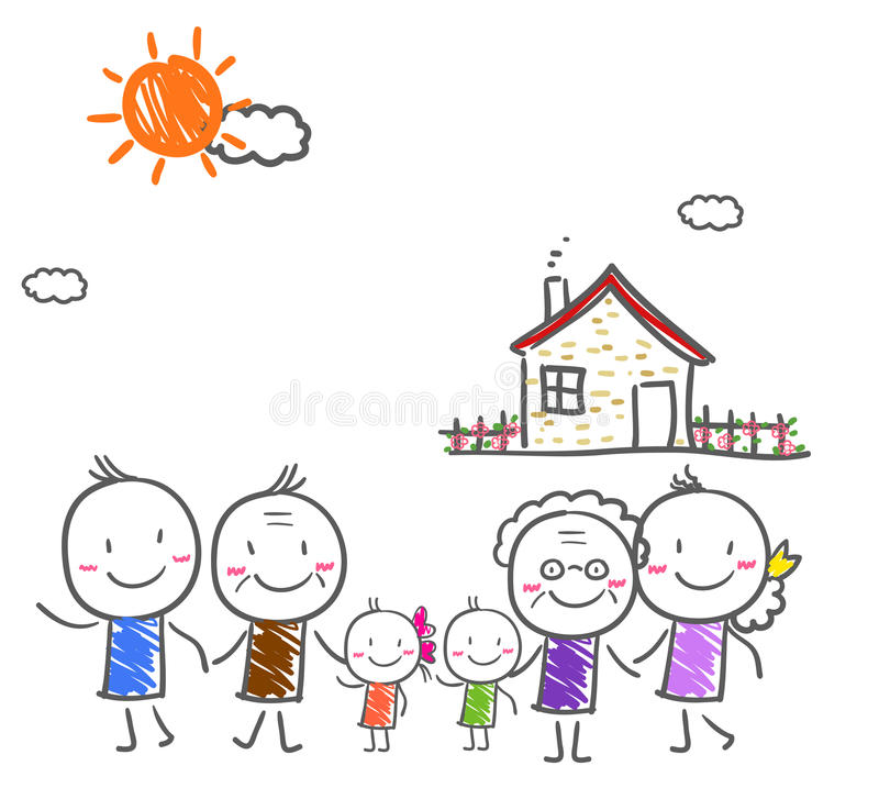 Big family with children royalty free illustration