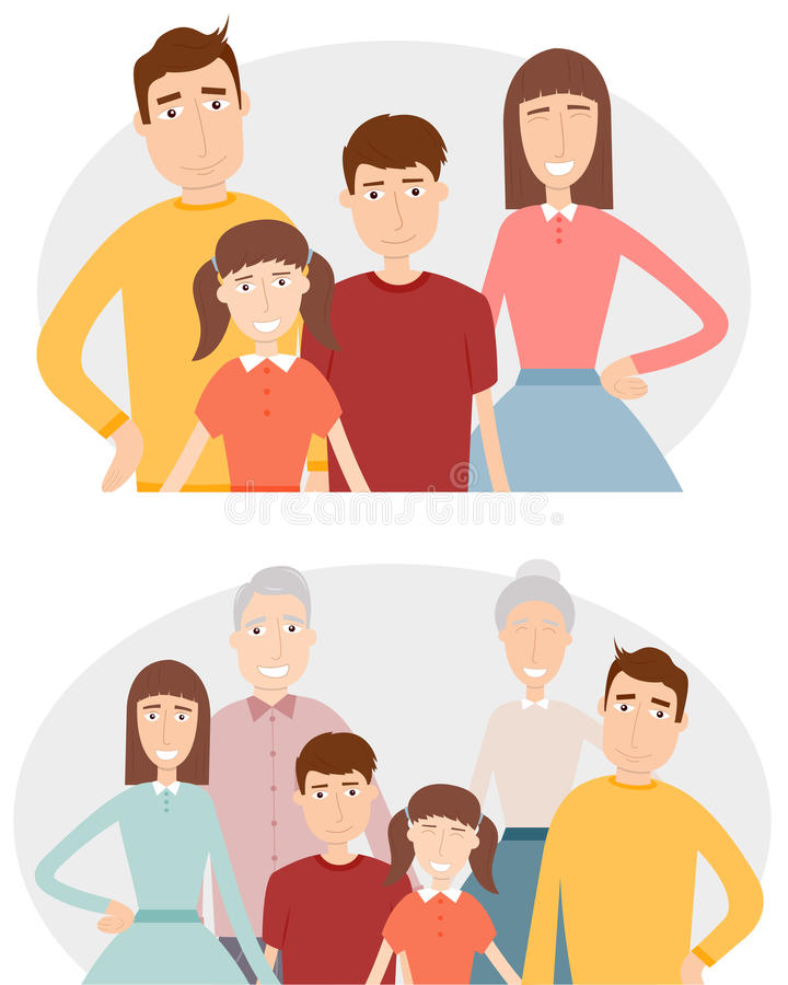 Big family with children, parents and grandparents. Family portrait isolated on white background. Vector vector illustration