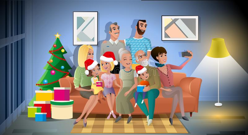 Big Family Christmas Party Cartoon Vector Concept. Big Family Christmas Party Carton Vector Concept with Happy Relatives Sitting on Sofa in Living Room, Wearing royalty free illustration
