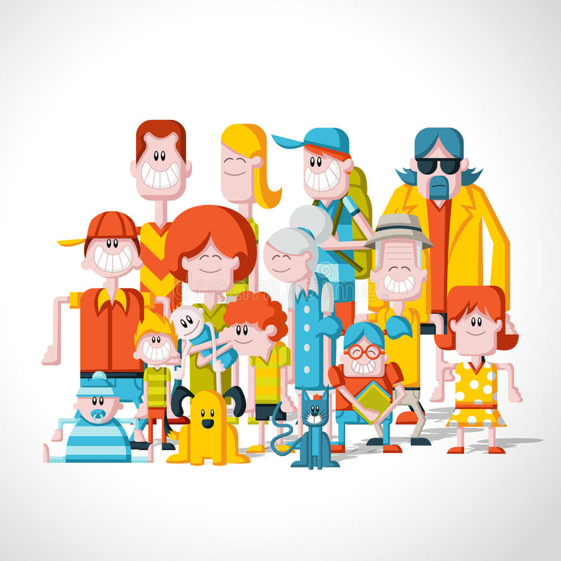 Big family. Colorful happy cartoon People. Big family royalty free illustration