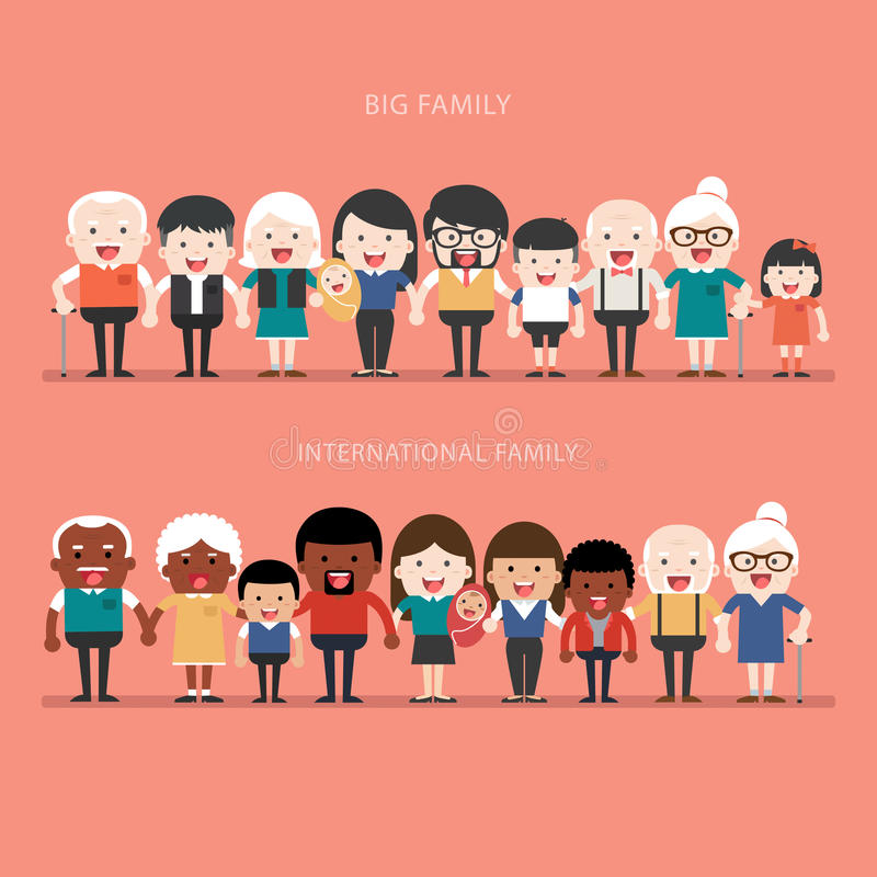 Big Family concept. Family concept. Big happy Family and international family. Parents with Children stock illustration