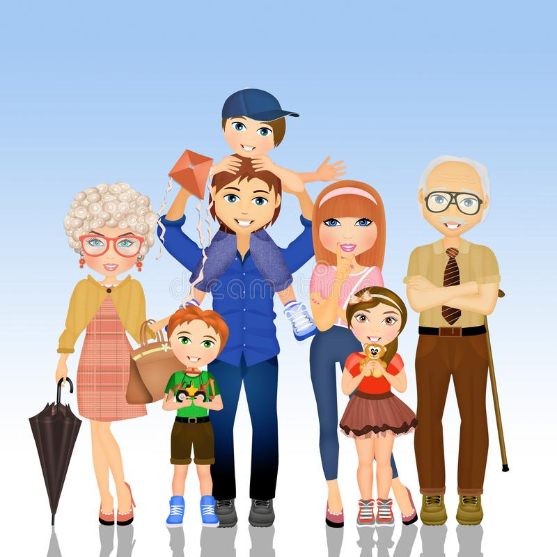 The big family. Cute illustration of the big family vector illustration
