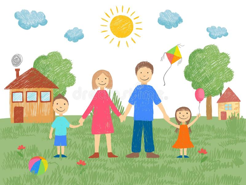Big family. Father mother brother standing near house grass and sun summer background kids hand drawn style vector. Illustration of mother and father, brother stock illustration