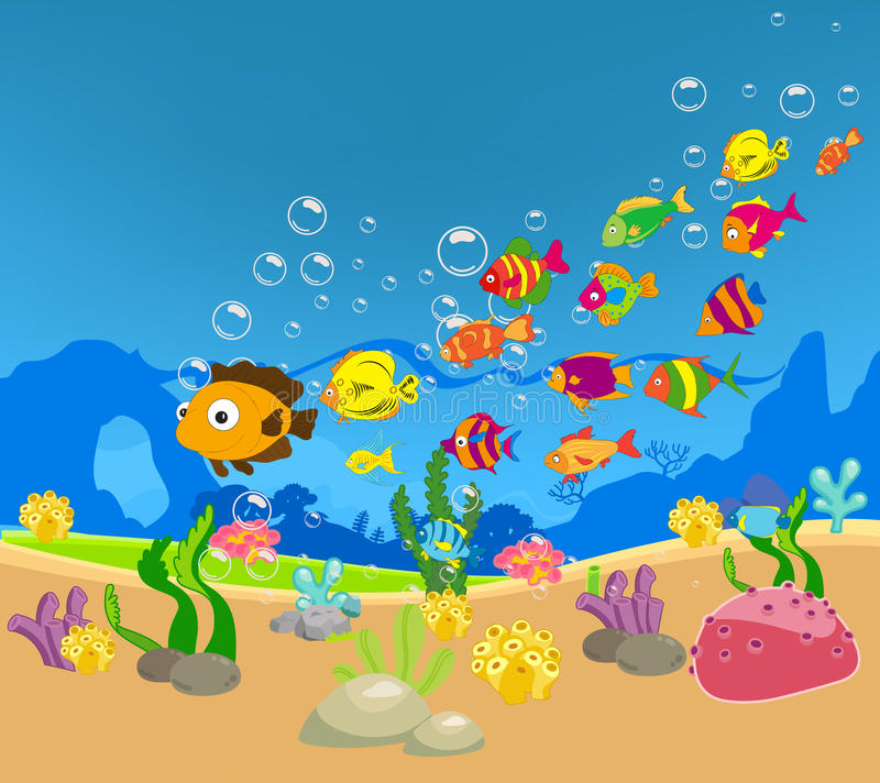 Big Family of Fish in the sea. Background royalty free illustration
