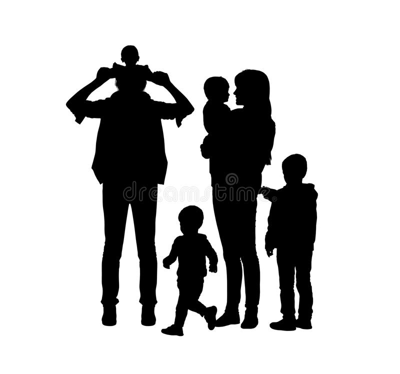 Big family of four children and two parents silhouettes. Black silhouettes of young big family of two parents and their four sons of different age happy together royalty free illustration