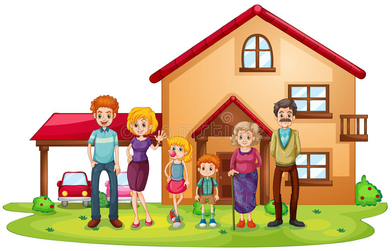 A big family in front of a big house. Illustration of a big family in front of a big house on a white background royalty free illustration