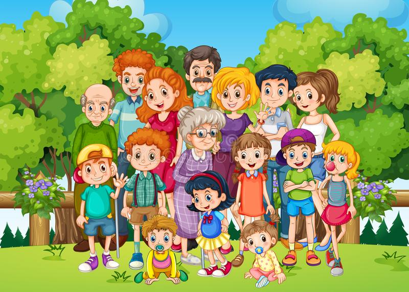A big family at the garden. Illustration vector illustration