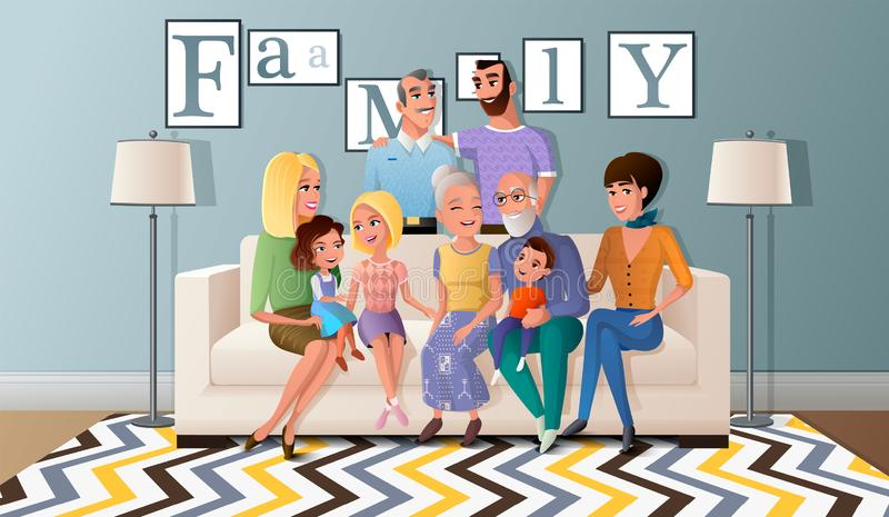 Big Family Gathered Together Cartoon Vector. Three Generations of Big Family Gathered Together at Home Cartoon Vector Illustration with Happy Senior Couple royalty free illustration