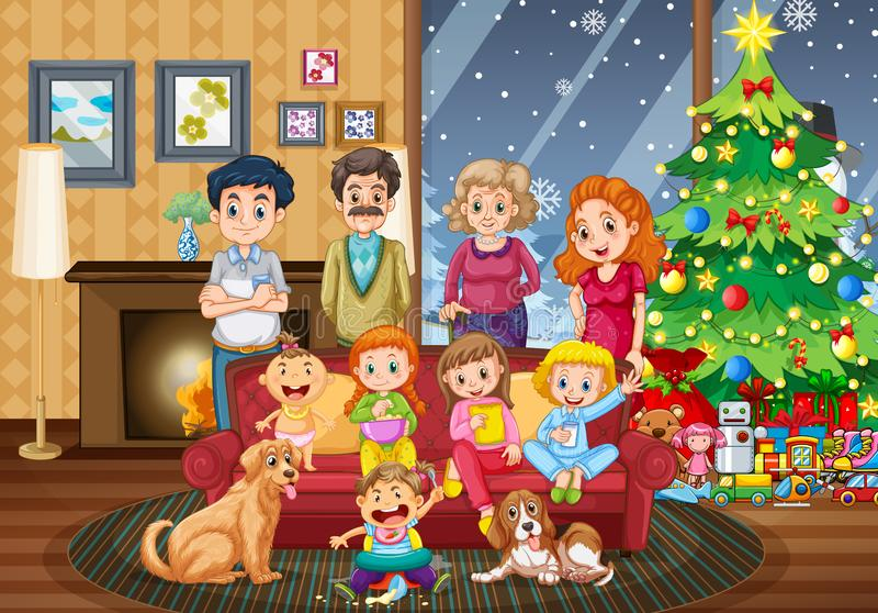 Christmas Celebration Cartoon Images.Family Gathering Together Christmas Celebration Stock