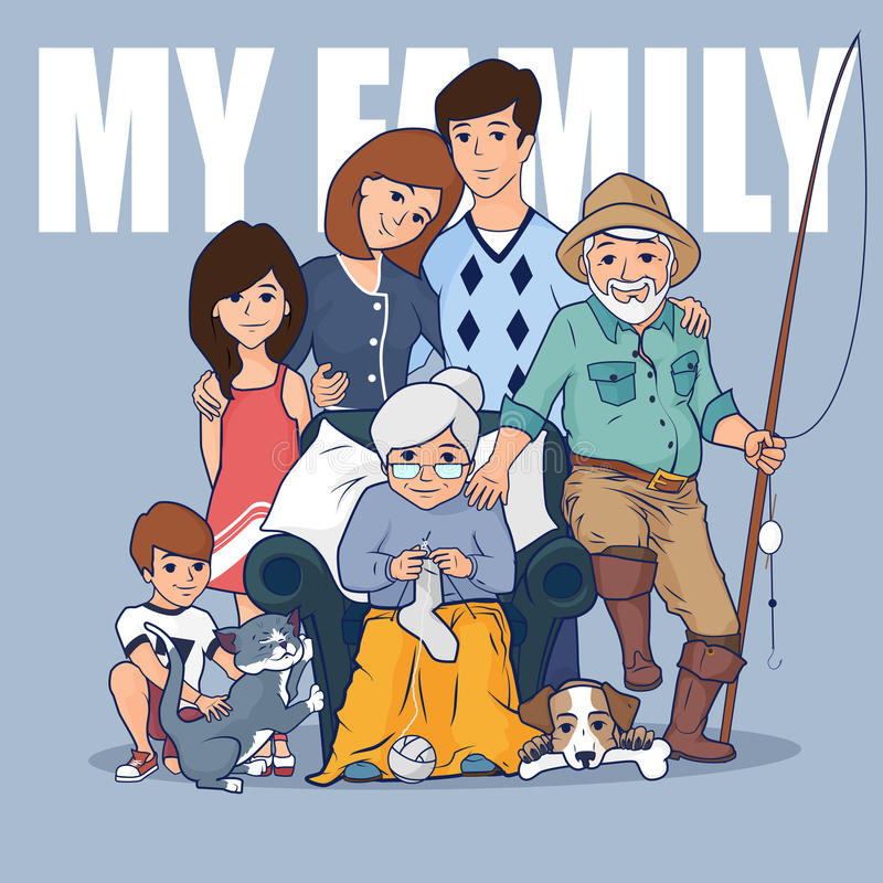 Big family with grandparents and children. Parents with boy and girl. Vector flat illustration. Large family hugging each other. Happy people together. Happy vector illustration
