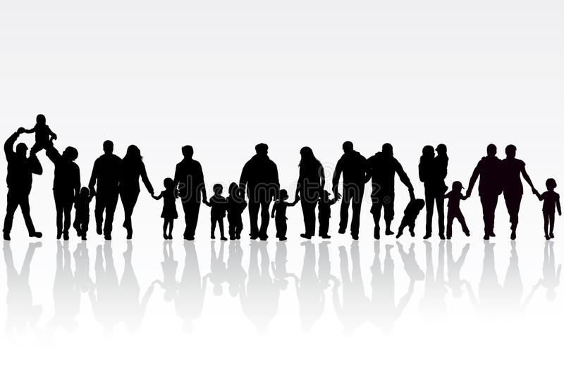 Big family. Happy people silhouettes vector illustration